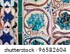 Vintage azulejos (ancient tiles) with plant motifs from Palacio da Vila de Sintra - Pertugal - stock photo