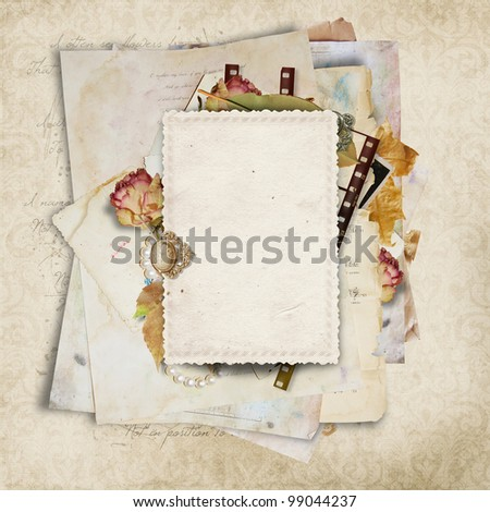 Vintage  background with card and filmstrip for congratulations and invitations