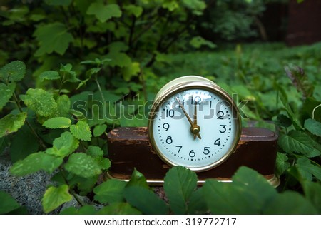 Vintage background with retro alarm clock