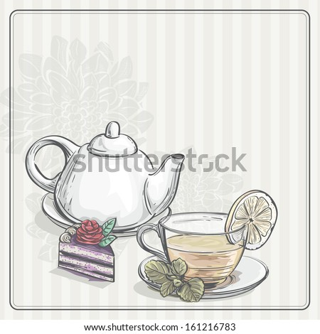 Vintage background with tea and the torus. Raster copy.