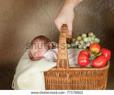 Vintage basket with groceries and an 18 year old sleeping baby