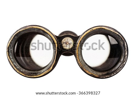 Vintage binoculars with compass isolated on white background