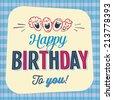 Vintage Birthday Card - Happy Birthday to you - JPG Version - stock vector