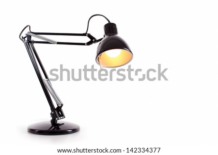 Black Desk Lamp: Vintage black desk lamp isolated on white,Lighting