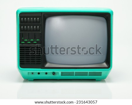 Vintage Blue TV isolated on White Background. Front View with Real Shadow. Copy Space for Text or Image