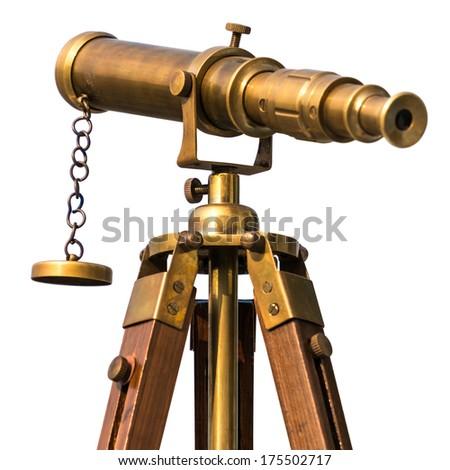 Ancient Scientific Telescope Isolated On White Stock Photo ... Старинный Телескоп