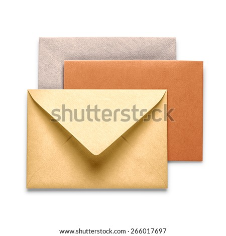 Vintage brown envelopes isolated on white background.