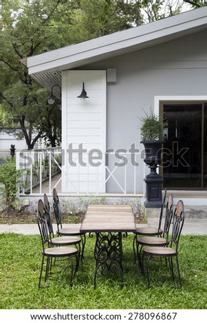 Serene old fashioned porch wicker furniture stock photo - Old fashioned patio furniture ...
