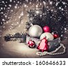 Vintage Christmas background with Christmas decoration - stock photo