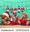 vintage christmas decoration with antique toys. sentimental nostalgic retro style picture - stock photo