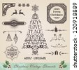 Vintage christmas swirl tree and season elements sale set. - stock photo