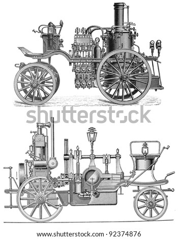 Vintage drawing of firefighting water pumps at the beginning of 20th century - Picture from Meyers Lexicon books collection (written in German language ) published in 1906 , Germany.