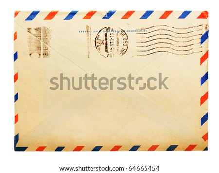 vintage envelope back side with russian meter stamps isolated on white