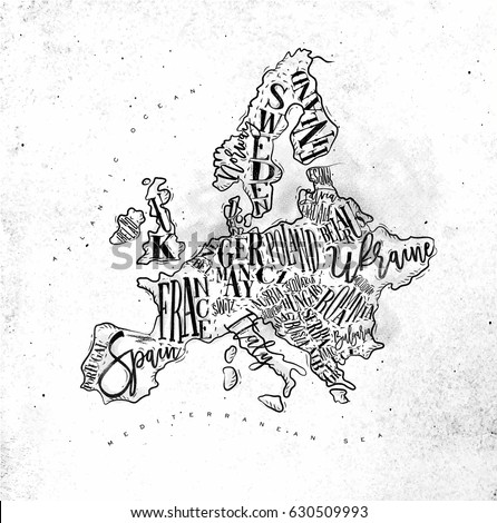 Vintage Europe Map Countries Inscription Uk Stock Illustration - Sweden belgium map
