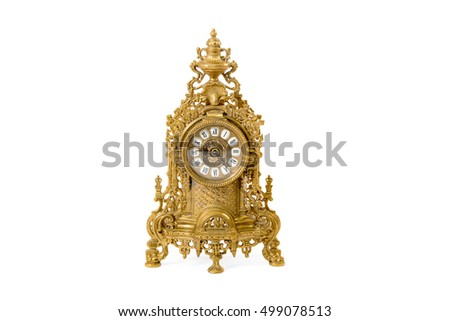 vintage golden clock on a white background