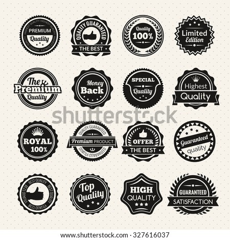 Vintage guaranteed quality, best offer and limited edition round color stamps isolated  illustration