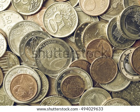 Vintage looking Background of Euro coins money (European currency)