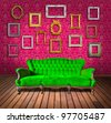 vintage luxury armchair and frame in pink wallpaper room - stock photo