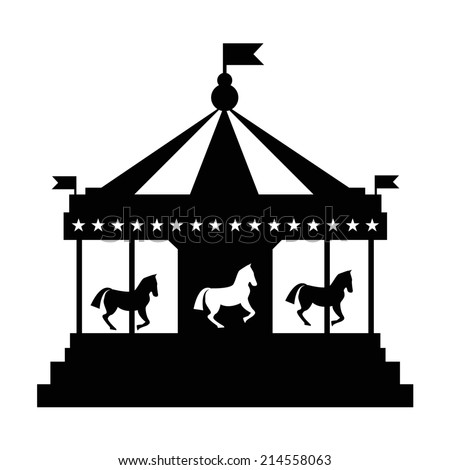 Vintage merrygoround carousel vector silhouette stock for Merry go round horse template