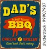 Vintage metal sign - Dad's BBQ - Raster Version - stock vector