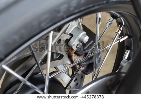 Vintage motorcycle cafe racer motorbike/Hipster lifestyle/Close-up motorcycle break disc