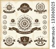 Vintage nautical labels set - stock photo
