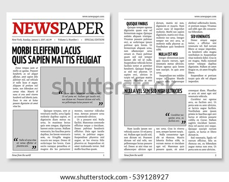Vintage newspaper journal template. Paper tabloid on newsprint, reportage information illustration