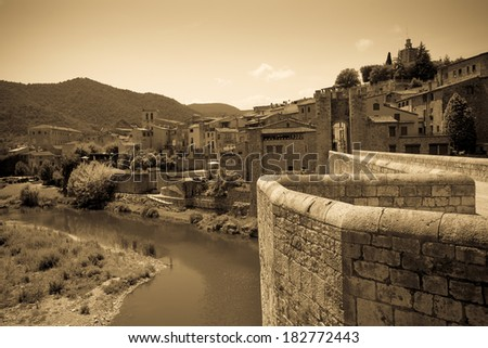 Vintage photo of medieval european town. Besalu