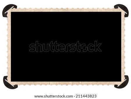 vintage photo with corner isolated on white background. retro style photo frame