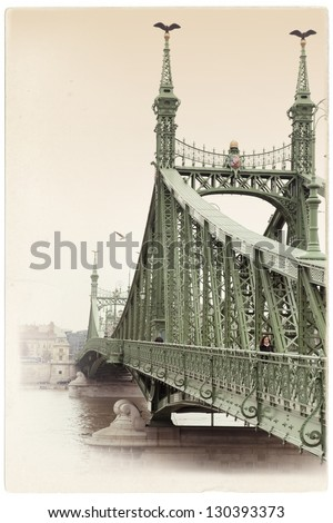 Vintage postcard of Budapest bridge of freedom over Danube