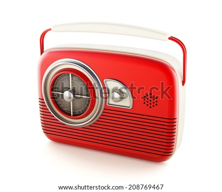 Vintage radio isolated on white background
