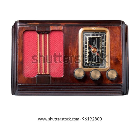 Vintage radio isolated on white, clipping path.