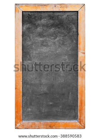 Vintage rectangular chalkboard with wood frame on white background