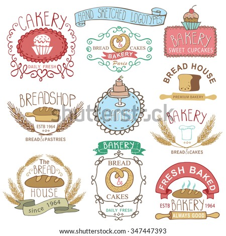 Vintage Cake Logo Design : Vintage Retro Bakery Badgeslabelslogosoutline Hand ...