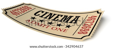 Vintage retro cinema creative concept: retro vintage cinema admit one ticket made of yellow textured paper isolated on white background with shadow, closeup view, 3d illustration