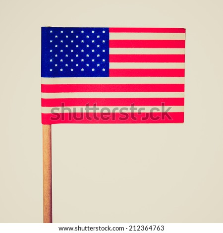 Vintage retro looking The national flag of the United States of America (USA) - isolated over white background