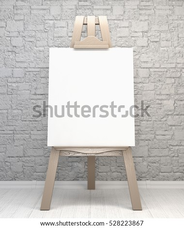 Vintage retro wooden easel artist's with blank canvas on a brick wall background. 3d illustration
