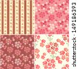 Vintage Rose Wallpaper Background set. Retro Style Floral Seamless Pattern.   - stock vector