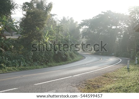vintage sharp curve country road early morning
