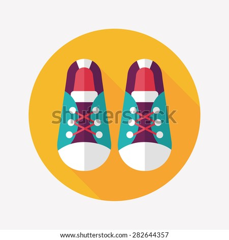 vintage shoes flat icon with long shadow