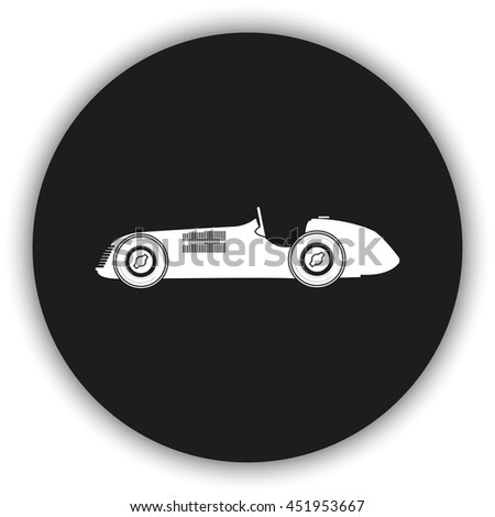Vintage sport racing car. Flat icon.