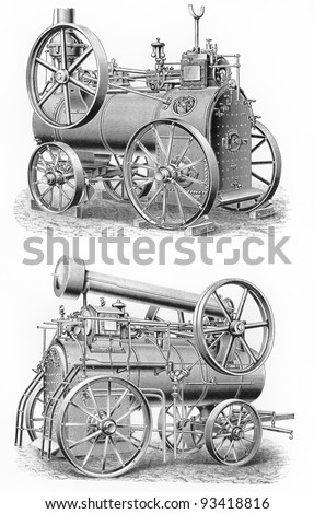 Vintage Steam-engine transport machines from the beginning of 20th century  - Picture from Meyers Lexicon books collection (written in German language ) published in 1908 , Germany.