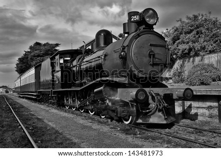 Vintage steam train at Queenscliff in Victoria, Australia - in black and white.