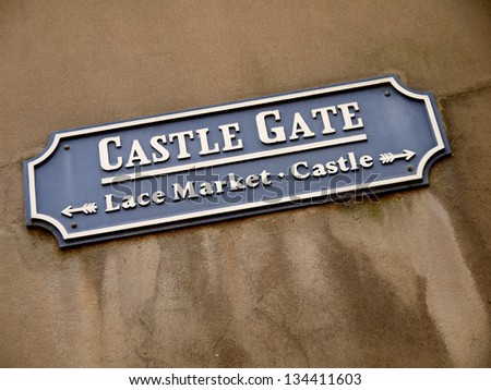 Vintage street sign for Castle Gate, Nottingham