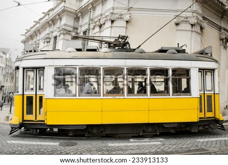 Vintage style picture of an old tram