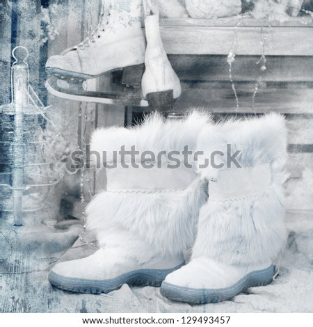 vintage style picture with winter boots - stock photo