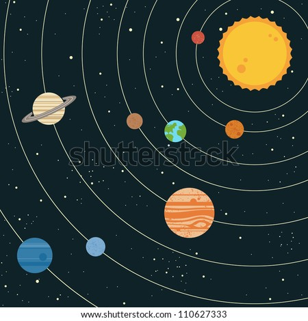 drawing of the solar system in the sun - photo #5