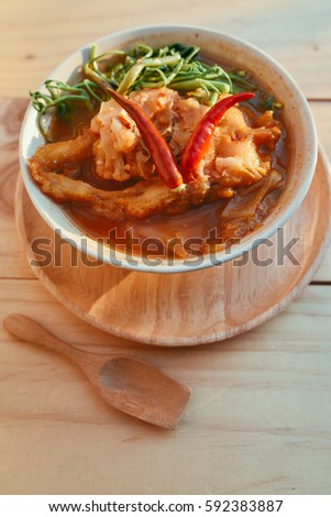 Delicious curry homemade little spicy peppers stock photo for Antique thai cuisine