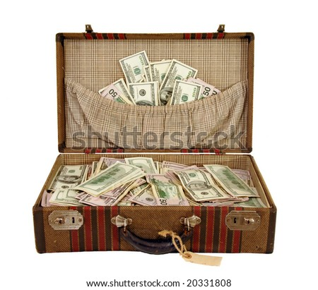 Vintage suitcase full of one hundred dollar bills and fifty dollar bills US currency.
