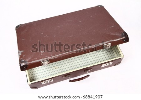 Vintage suitcase - opened - on white background